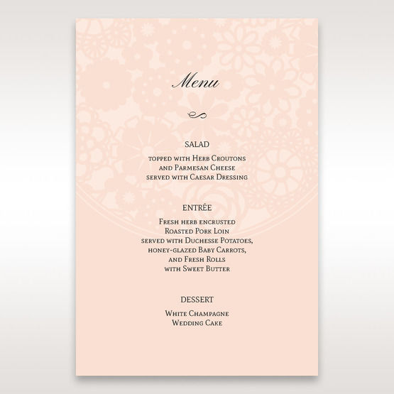 Orange Pink Light Romance - Menu Cards - Wedding Stationery - 6