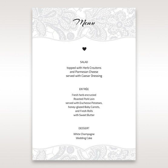 White White Dress - Menu Cards - Wedding Stationery - 30