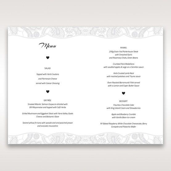 White White Dress - Menu Cards - Wedding Stationery - 98