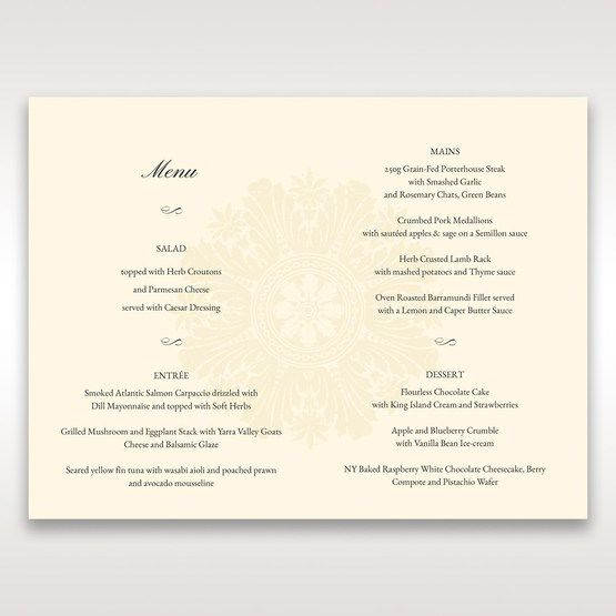 Brown Classic Couture Gold & Brown - Menu Cards - Wedding Stationery - 0