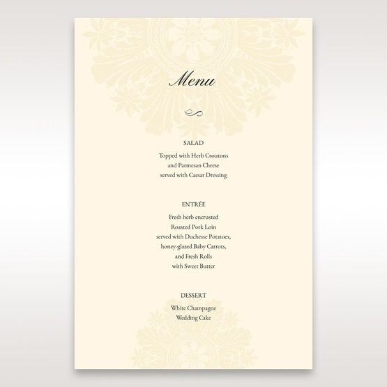 Brown Classic Couture Gold & Brown - Menu Cards - Wedding Stationery - 88