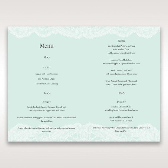 Blue Gatefold Floral Laser Cut - Menu Cards - Wedding Stationery - 6