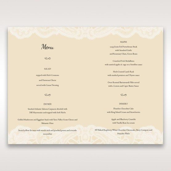 Yellow/Gold Laser Cut Floral Pocket - Menu Cards - Wedding Stationery - 12