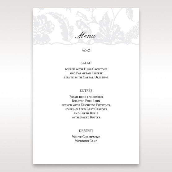 Silver/Gray Enchanted Floral Pocket III - Menu Cards - Wedding Stationery - 13