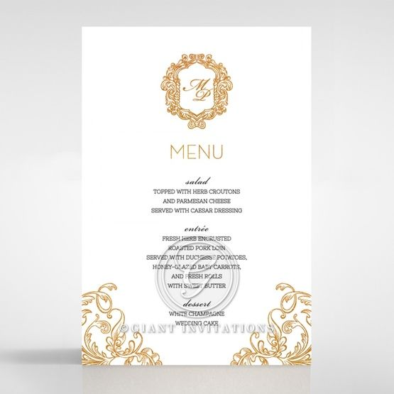 Modern Crest menu card DM116122-KI-GG