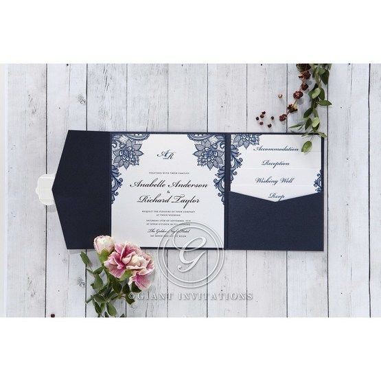 Pearlised white insert card and stationeries printed in high rise fonts, adorned with navy blue floral borders