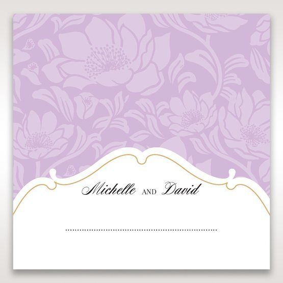 Purple Gold Foiled Floral Laser Cut - Place Cards - Wedding Stationery - 43