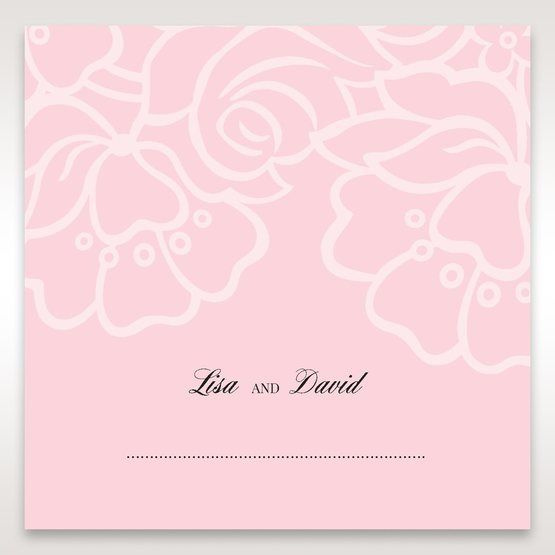 Pink Floral Laser Cut with Embossing - Place Cards - Wedding Stationery - 55