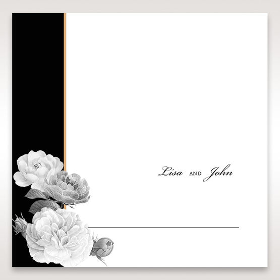 Black Gold Poppies in a Rose Garden - Place Cards - Wedding Stationery - 61