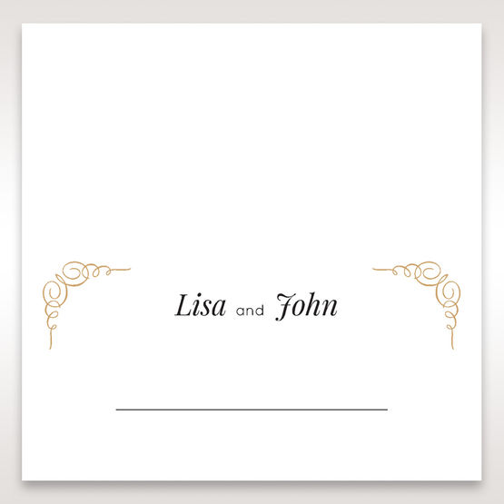 Yellow/Gold Embossed Borders with Classy Gold patterns - Place Cards - Wedding Stationery - 68