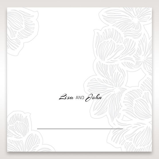 White Laser Cut Flower Frame - Place Cards - Wedding Stationery - 53