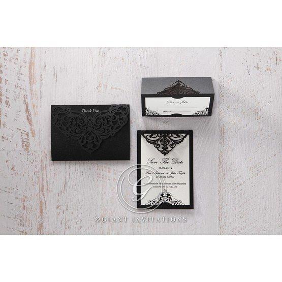 White Jeweled Romance Black Laser Cut - Place Cards - Wedding Stationery - 95