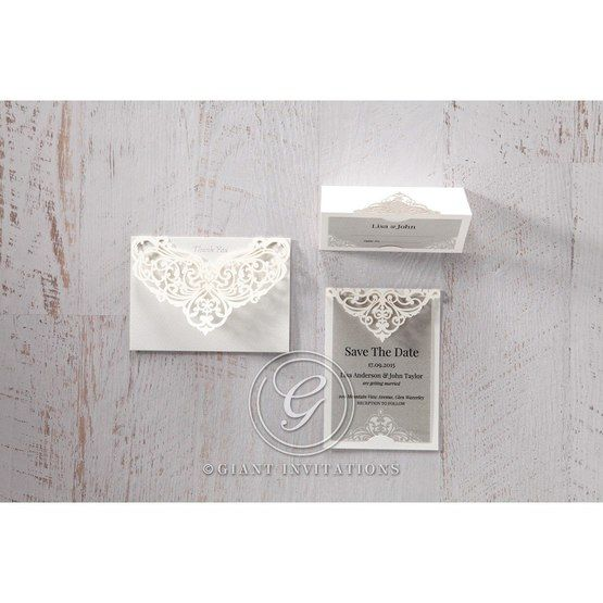 Silver/Gray Jeweled White Lasercut Pocket - Place Cards - Wedding Stationery - 3