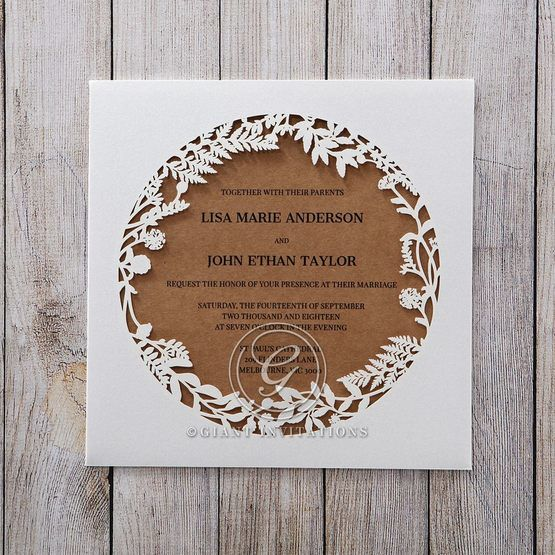 Brown Floral Laser Cut Rustic Gem - Wedding invitation - 44