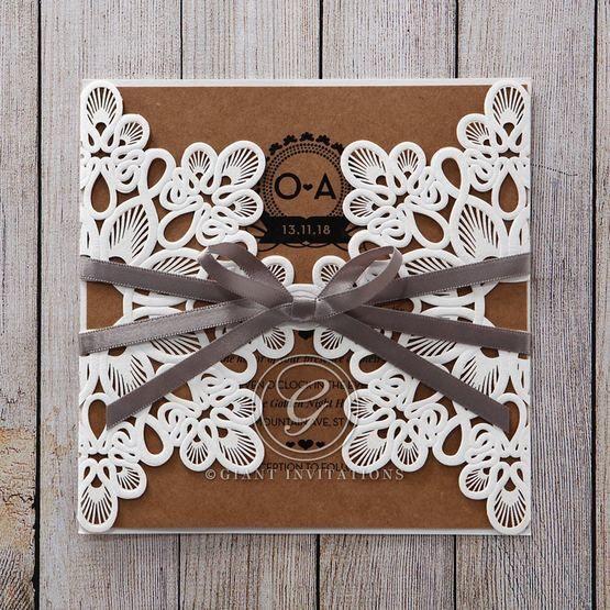 Brown Blissfully Rustic Laser Cut Wrap - Wedding invitation - 46