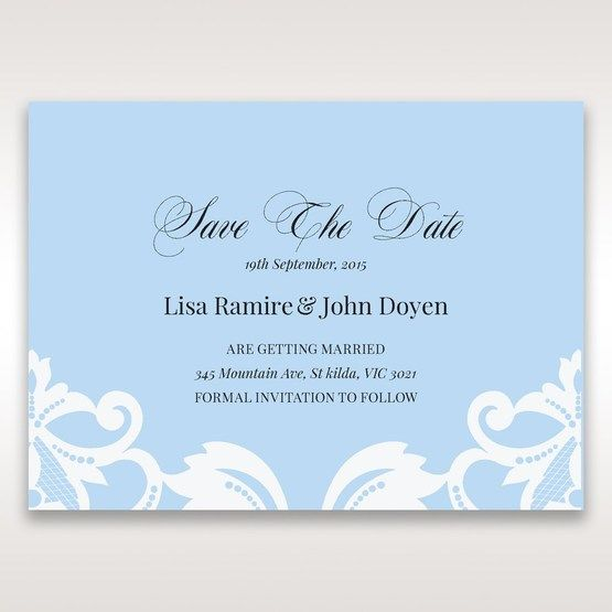 Blue Classy Laser Cut with White Bow - Save the Date - Wedding Stationery - 63