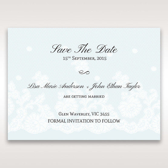 Brown Floral Couture in Blue & White - Save the Date - Wedding Stationery - 9