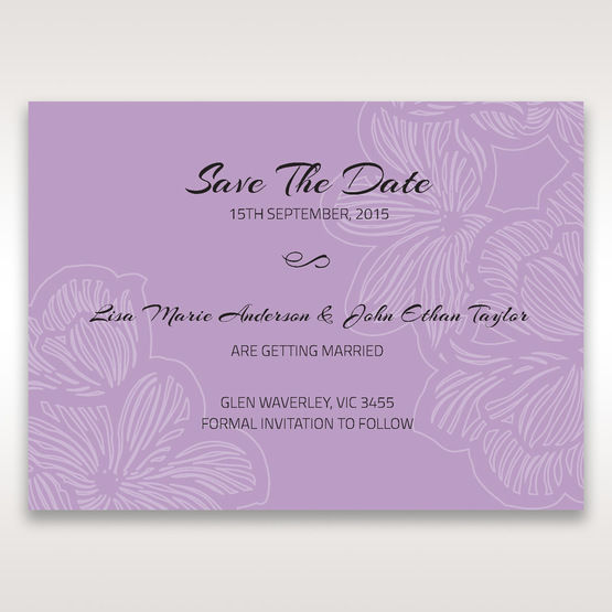 Purple Laser Cut Flower Frame III - Save the Date - Wedding Stationery - 11