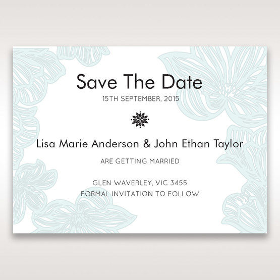 Blue Laser Cut Flower Wrap - Save the Date - Wedding Stationery - 13