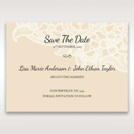 Yellow/Gold Laser Cut Floral Pocket - Save the Date - Wedding Stationery - 98