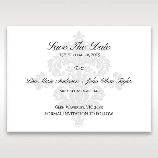 White Letter-fold Damask Pocket - Save the Date - Wedding Stationery - 40