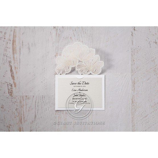 White Laser Cut Floral Lace - Save the Date - Wedding Stationery - 71