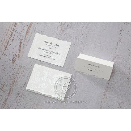 White Enchanted Folral Pocket III - Save the Date - Wedding Stationery - 80