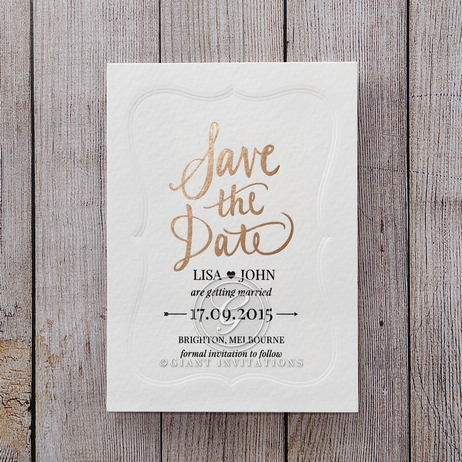 White Embossed Frame - Save the Date - Wedding Stationery - 14