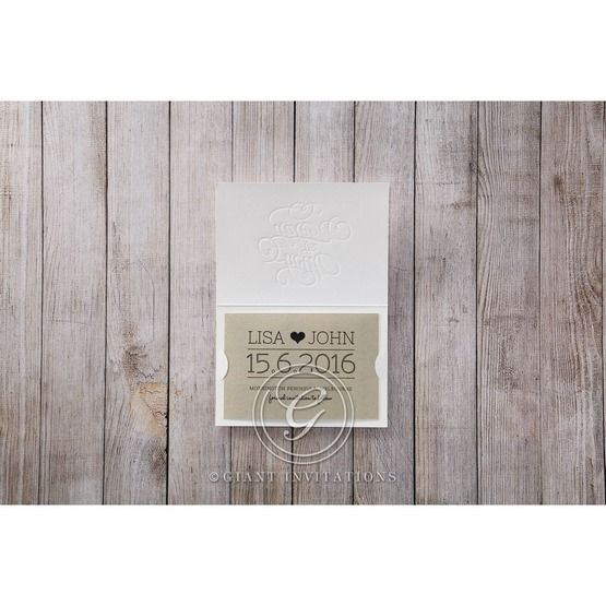 Brown White Embossed Laser Cut - Save the Date - Wedding Stationery - 28