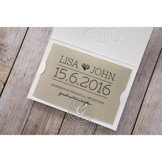 Brown White Embossed Laser Cut - Save the Date - Wedding Stationery - 29