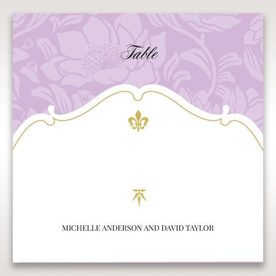 Purple Gold Foiled Floral Laser Cut - Table Number Cards - Wedding Stationery - 52