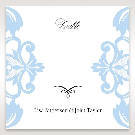 Blue Classy Laser Cut with White Bow - Table Number Cards - Wedding Stationery - 83