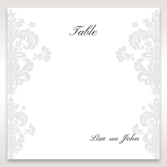 White Letter-fold Damask Pocket - Table Number Cards - Wedding Stationery - 54