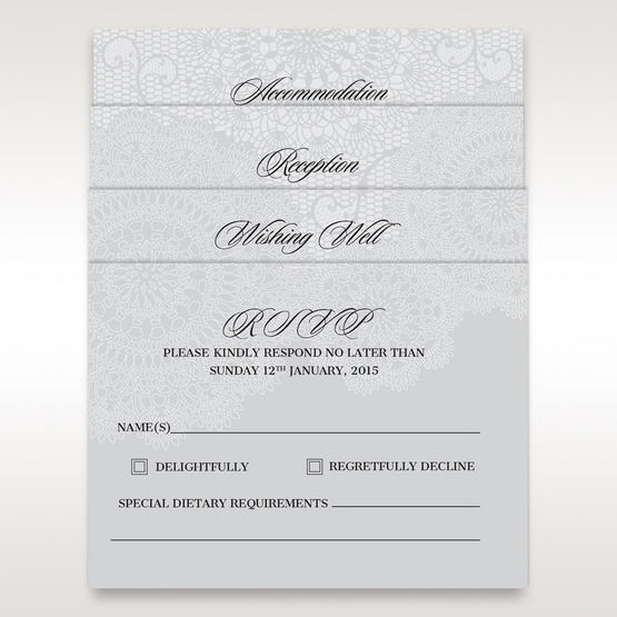 Silver/Gray Handmade Vintage Lace Floral - Wedding invitation - 19