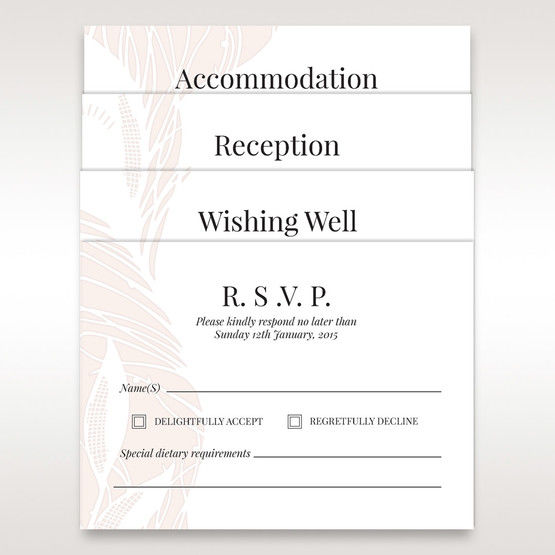 Matching stationery arranged in white vellum pocket