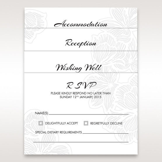 White Laser Cut Flower Frame - RSVP Cards - Wedding Stationery - 50