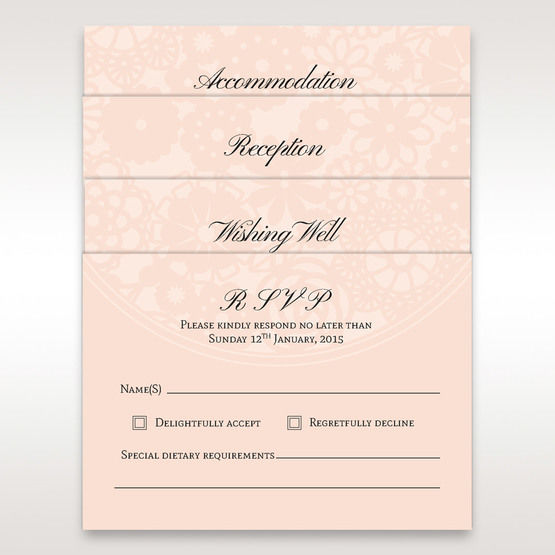Pink RSVP, accommodation, reception and wishing well card in vellum pocket