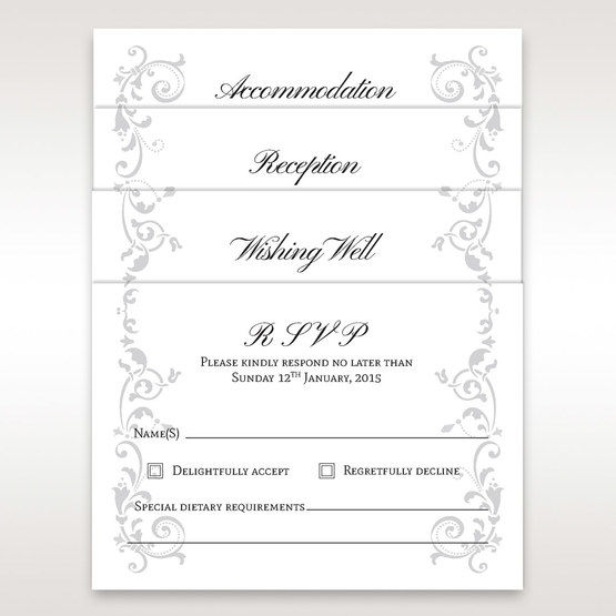 White Modern Times Vintage Pocket - RSVP Cards - Wedding Stationery - 67