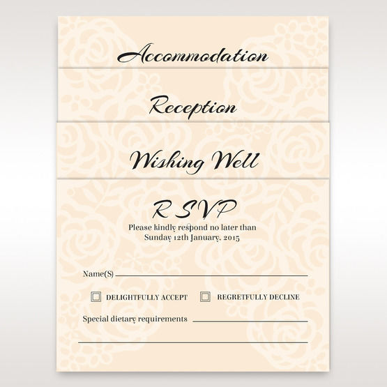 Matching reception, accommodation and RSVP cards in vellum pocket