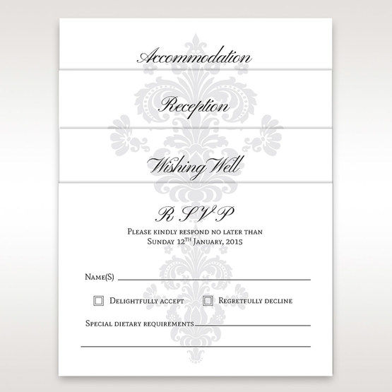 Matching card accessories for the matte white embossed pocket invite with three panel insert