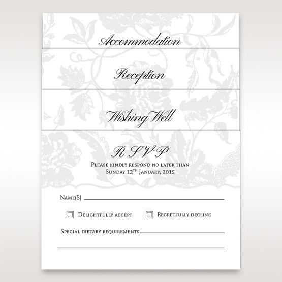 Silver/Gray Enchanted Floral Pocket III - RSVP Cards - Wedding Stationery - 84