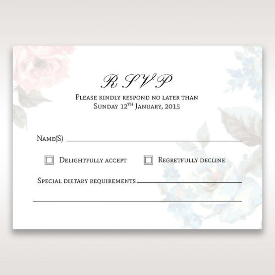 Blue Magical Flower Garden - RSVP Cards - Wedding Stationery - 66