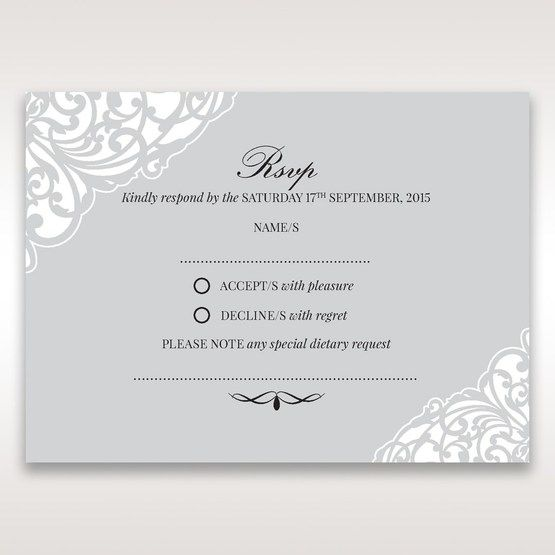 Silver/Gray Jeweled Romance Laser Cut - RSVP Cards - Wedding Stationery - 15