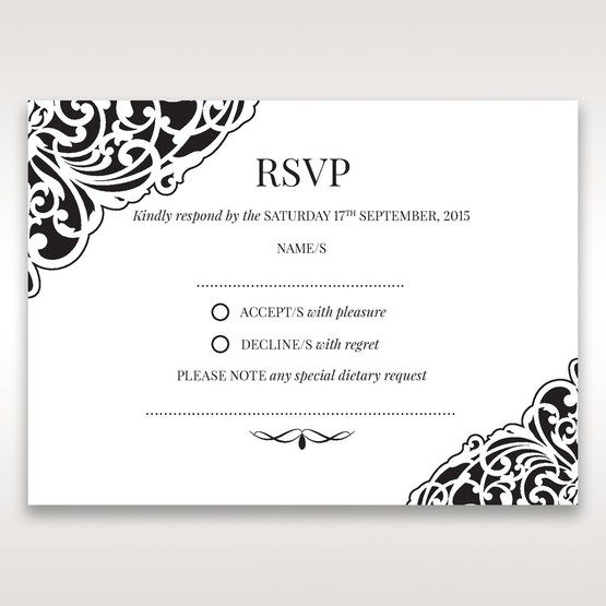 White Jeweled Romance Black Lasercut Pocket - RSVP Cards - Wedding Stationery - 29