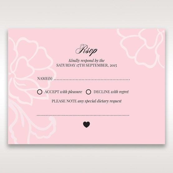 Pink Floral Laser Cut with Embossing - RSVP Cards - Wedding Stationery - 44