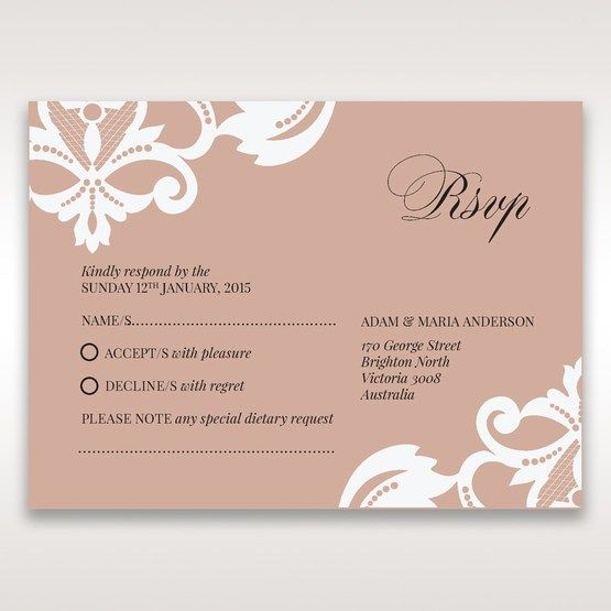 White Elegant Laser Cut Half Pocket with a Bow - RSVP Cards - Wedding Stationery - 71