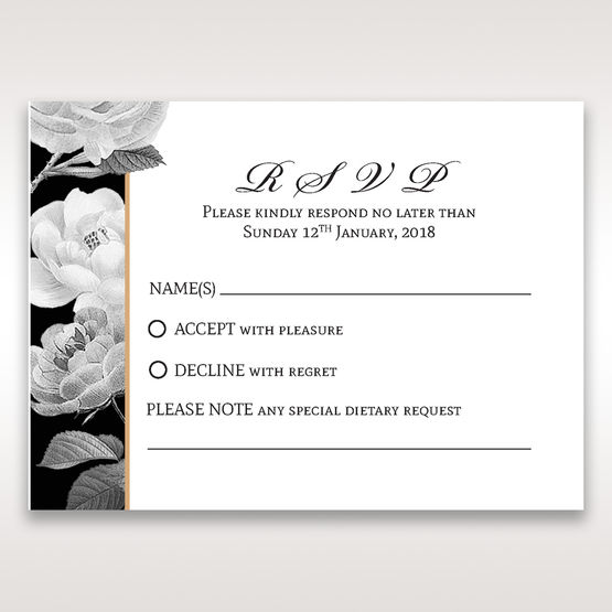 Black Gold Poppies in a Rose Garden - RSVP Cards - Wedding Stationery - 0