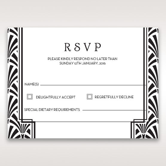 Black Dazzling Silver Foil Stamped - RSVP Cards - Wedding Stationery - 9