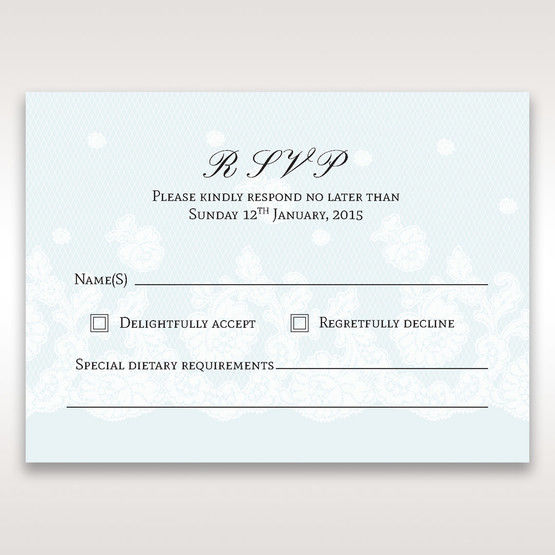 Silver/Gray Floral Couture in Blue & White - RSVP Cards - Wedding Stationery - 44