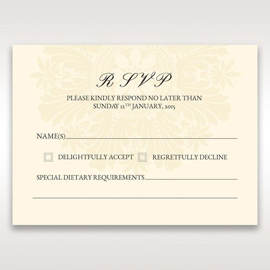 Brown Embossed Swirls Hard Layer - RSVP Cards - Wedding Stationery - 67